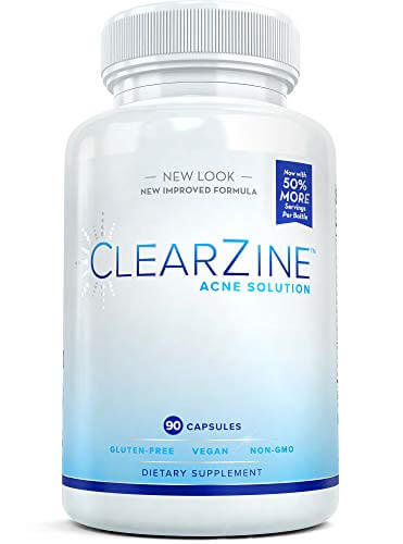 ClearZine Acne Pills for Teens & Adults | Clear Skin Supplement, Vitamins for Hormonal & Cystic Acne | Stop Breakouts, Oily Skin and Zits, 90 Caps