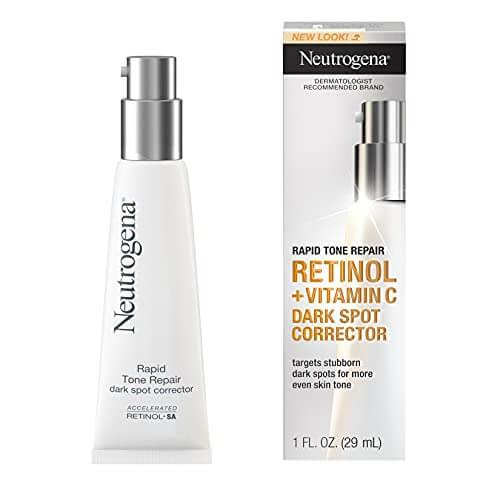 Neutrogena Rapid Tone Repair Retinol + Vitamin C Dark Spot Corrector Face Serum, Daily Anti-Wrinkle Retinol Dark Spot Corrector to Brighten & Even Tone, Mineral-Oil & Dye-Free, 1 oz