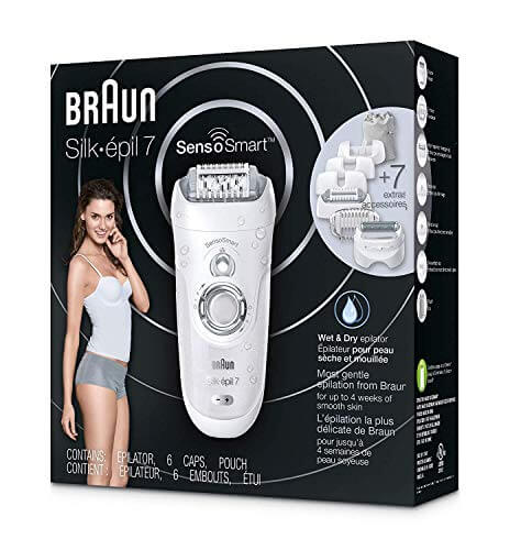 Braun Epilator Silk-épil 7 7-880 Facial Hair Removal for Women, Rechargeable Shaver, Cordless, Wet & Dry, with 7 extras