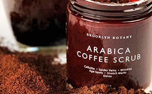 Brooklyn Botany Coffee Body Scrub and Face Scrub - 100% Natural Anti Cellulite Body Scrub & Stretch Mark Remover - Moisturizing Scrub For Eczema - Exfoliating Body Scrub For Women & Men - 10 oz